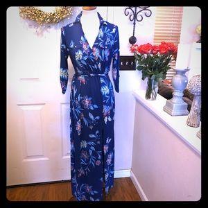 NWT Iris Brand Blue Floral Wrap Maxi Dress